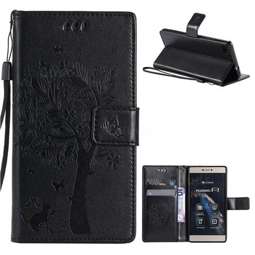 Embossing Butterfly Tree Leather Wallet Case for Huawei P8 - Black