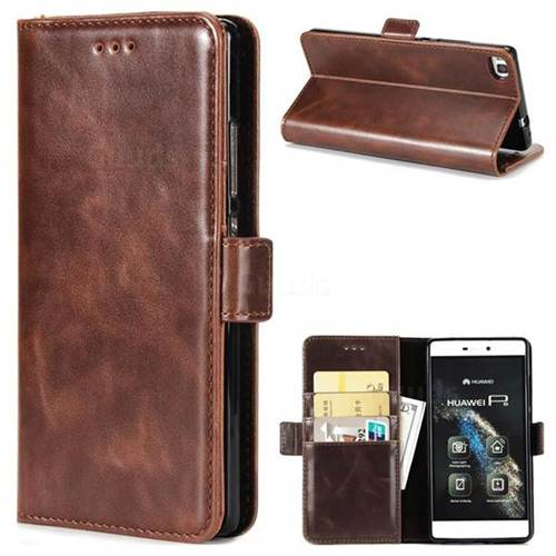 Luxury Crazy Horse PU Leather Wallet Case for Huawei P8 - Coffee