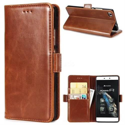 Luxury Crazy Horse PU Leather Wallet Case for Huawei P8 - Brown