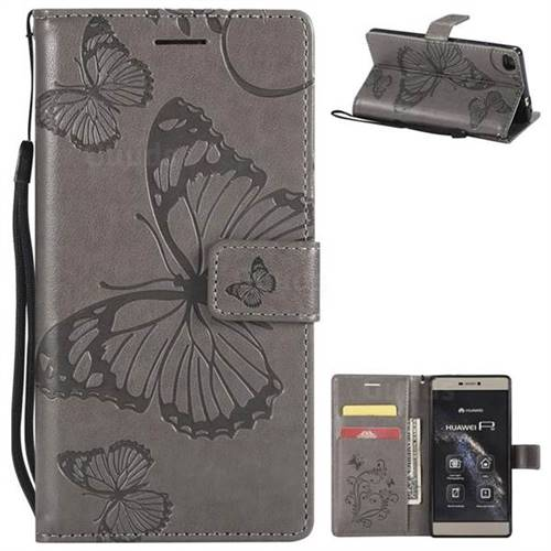 Embossing 3D Butterfly Leather Wallet Case for Huawei P8 - Gray