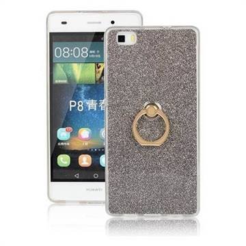 Luxury Soft TPU Glitter Back Ring Cover with 360 Rotate Finger Holder Buckle for Huawei P8 Lite P8lite - Black