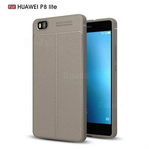 Luxury Auto Focus Litchi Texture Silicone TPU Back Cover for Huawei P8 Lite P8lite - Gray