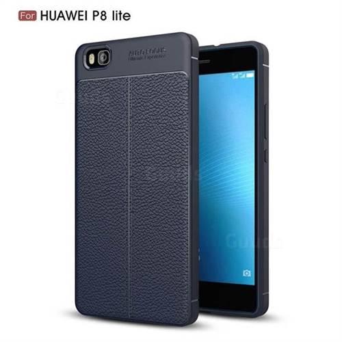 Luxury Auto Focus Litchi Texture Silicone TPU Back Cover for Huawei P8 Lite P8lite - Dark Blue