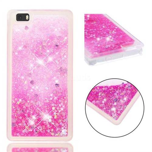 Dynamic Liquid Glitter Quicksand Sequins TPU Phone Case for Huawei P8 Lite P8lite - Rose
