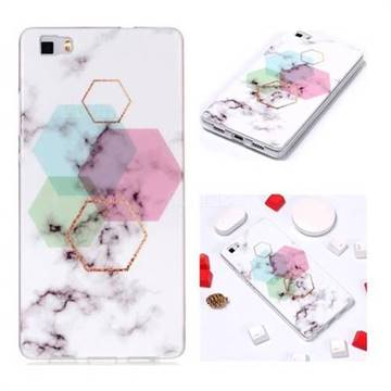 Hexagonal Soft TPU Marble Pattern Phone Case for Huawei P8 Lite P8lite