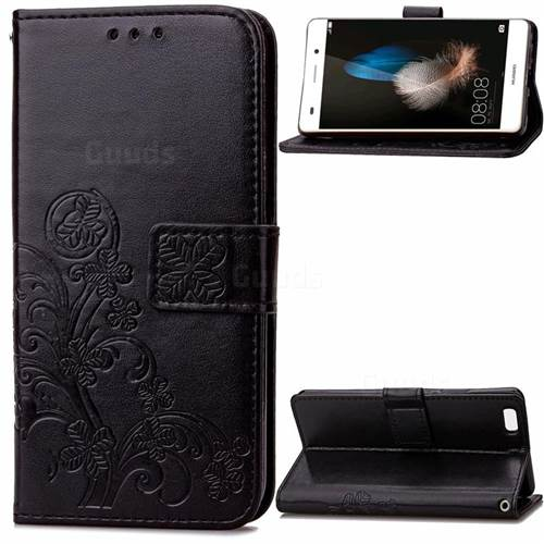 Embossing Imprint Four-Leaf Clover Leather Wallet Case for Huawei P8 Lite P8lite - Black