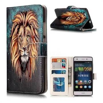 Ice Lion 3D Relief Oil PU Leather Wallet Case for Huawei P8 Lite P8lite