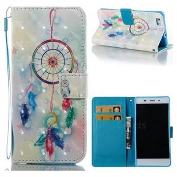 Feather Wind Chimes 3D Painted Leather Wallet Case for Huawei P8 Lite P8lite
