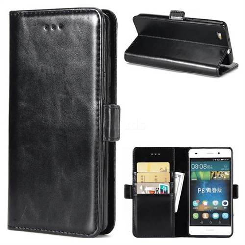 Luxury Crazy Horse PU Leather Wallet Case for Huawei P8 Lite P8lite - Black
