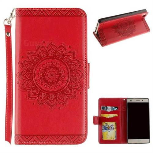 Embossed Datura Flower PU Leather Wallet Case for Huawei P8 Lite P8lite - Red