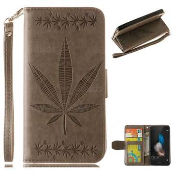 Intricate Embossing Maple Leather Wallet Case for Huawei P8 Lite P8lite - Gray