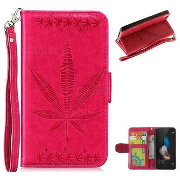 Intricate Embossing Maple Leather Wallet Case for Huawei P8 Lite P8lite - Rose