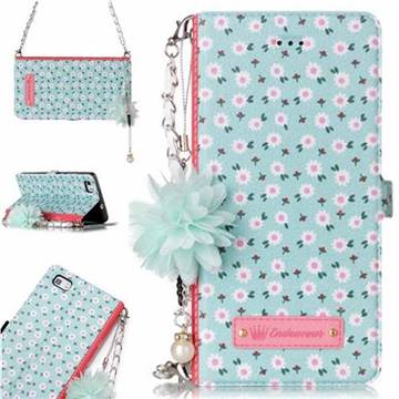 Daisy Endeavour Florid Pearl Flower Pendant Metal Strap PU Leather Wallet Case for Huawei P8 Lite P8lite