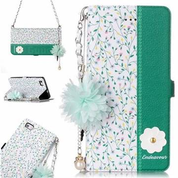 Magnolia Endeavour Florid Pearl Flower Pendant Metal Strap PU Leather Wallet Case for Huawei P8 Lite P8lite