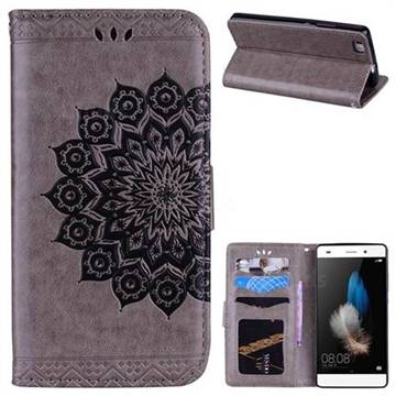 Datura Flowers Flash Powder Leather Wallet Holster Case for Huawei P8 Lite P8lite - Gray