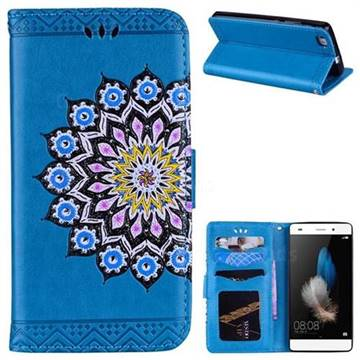 Datura Flowers Flash Powder Leather Wallet Holster Case for Huawei P8 Lite P8lite - Blue