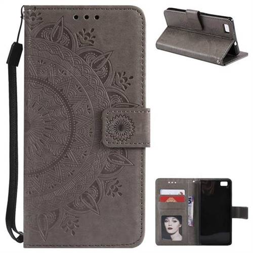Intricate Embossing Datura Leather Wallet Case for Huawei P8 Lite P8lite - Gray