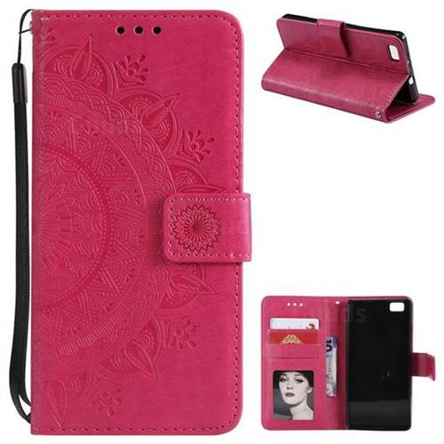 Intricate Embossing Datura Leather Wallet Case for Huawei P8 Lite P8lite - Rose Red