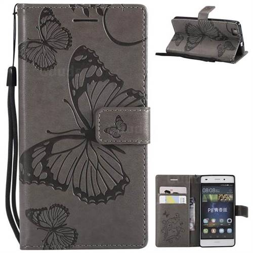 Embossing 3D Butterfly Leather Wallet Case for Huawei P8 Lite P8lite - Gray