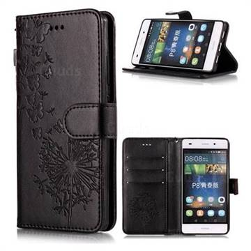 Intricate Embossing Dandelion Butterfly Leather Wallet Case for Huawei P8 Lite P8lite - Black