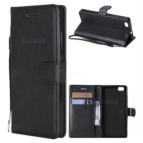 Retro Greek Classic Smooth PU Leather Wallet Phone Case for Huawei P8 Lite P8lite - Black