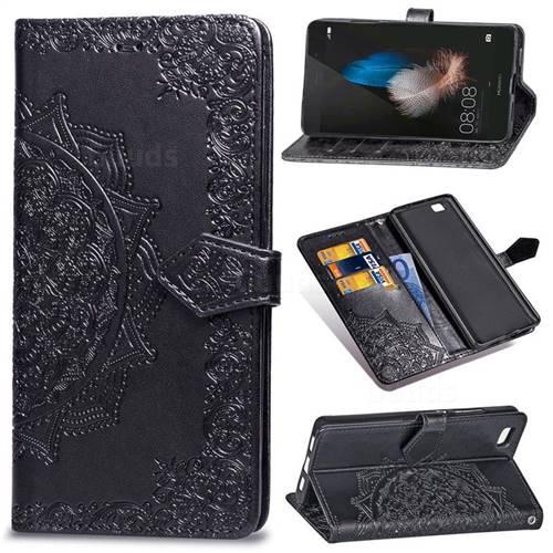 Embossing Imprint Mandala Flower Leather Wallet Case for Huawei P8 Lite P8lite - Black