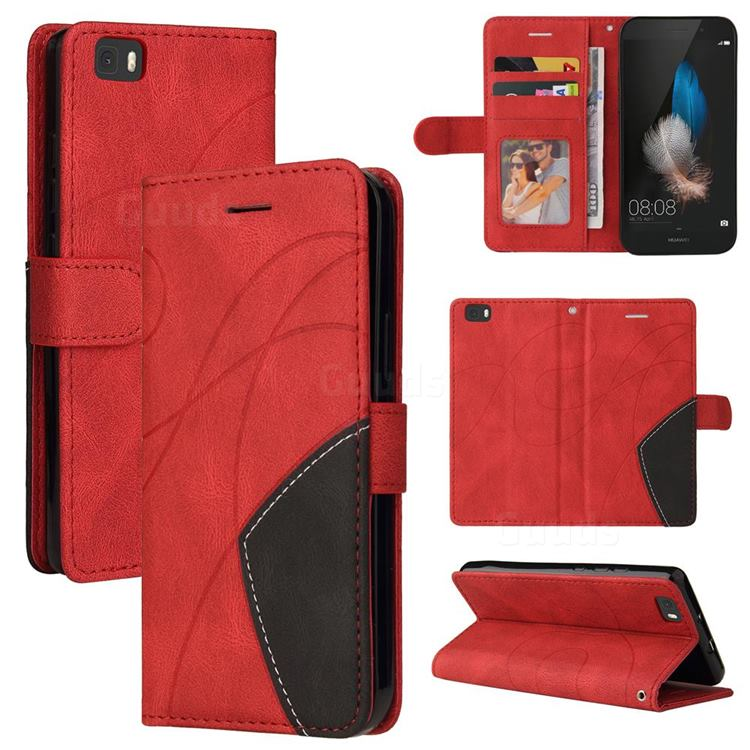 Luxury Two-color Stitching Leather Wallet Case Cover for Huawei P8 Lite P8lite - Red