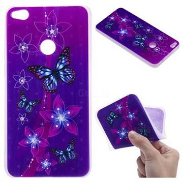 Butterfly Flowers 3D Relief Matte Soft TPU Back Cover for Huawei P8 Lite 2017 / P9 Honor 8 Nova Lite