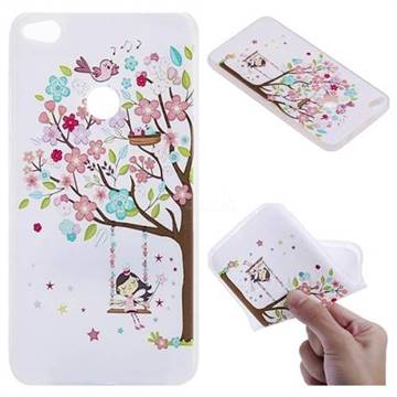 Tree and Girl 3D Relief Matte Soft TPU Back Cover for Huawei P8 Lite 2017 / P9 Honor 8 Nova Lite