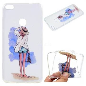 Beach Girl Super Clear Soft TPU Back Cover for Huawei P8 Lite 2017 / P9 Honor 8 Nova Lite