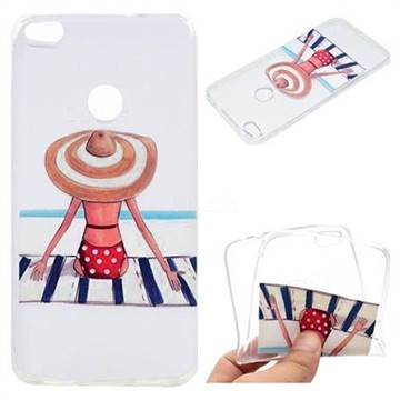 Beach Chair Girl Super Clear Soft TPU Back Cover for Huawei P8 Lite 2017 / P9 Honor 8 Nova Lite