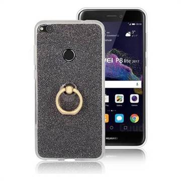 Luxury Soft TPU Glitter Back Ring Cover with 360 Rotate Finger Holder Buckle for Huawei P8 Lite 2017 / P9 Honor 8 Nova Lite - Black