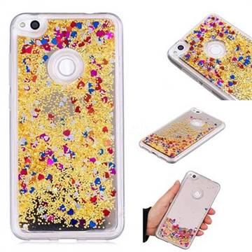 Glitter Sand Mirror Quicksand Dynamic Liquid Star TPU Case for Huawei P8 Lite 2017 / P9 Honor 8 Nova Lite - Yellow