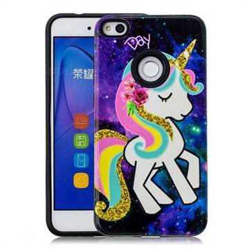 Rainbow Horse Pattern 2 in 1 PC + TPU Glossy Embossed Back Cover for Huawei P8 Lite 2017 / P9 Honor 8 Nova Lite