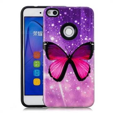 Glossy Butterfly Pattern 2 in 1 PC + TPU Glossy Embossed Back Cover for Huawei P8 Lite 2017 / P9 Honor 8 Nova Lite