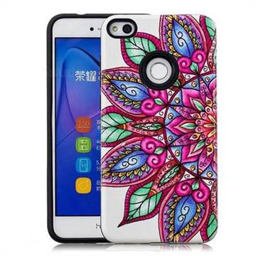 Mandara Flower Pattern 2 in 1 PC + TPU Glossy Embossed Back Cover for Huawei P8 Lite 2017 / P9 Honor 8 Nova Lite
