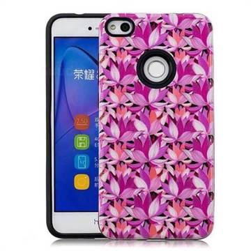 Lotus Flower Pattern 2 in 1 PC + TPU Glossy Embossed Back Cover for Huawei P8 Lite 2017 / P9 Honor 8 Nova Lite