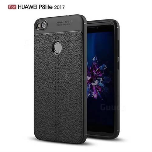 Luxury Auto Focus Litchi Texture Silicone TPU Back Cover for Huawei P8 Lite 2017 / P9 Honor 8 Nova Lite - Black