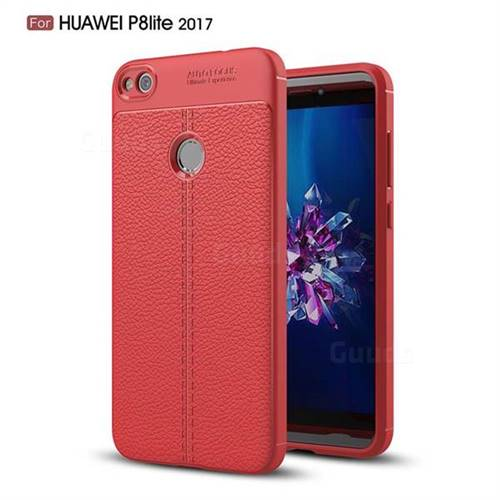Luxury Auto Focus Litchi Texture Silicone TPU Back Cover for Huawei P8 Lite 2017 / P9 Honor 8 Nova Lite - Red