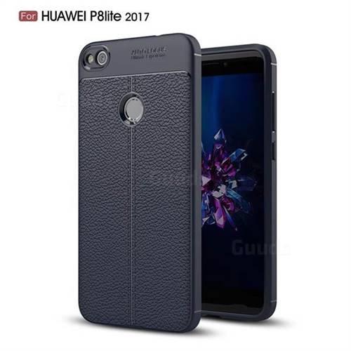 Luxury Auto Focus Litchi Texture Silicone TPU Back Cover for Huawei P8 Lite 2017 / P9 Honor 8 Nova Lite - Dark Blue