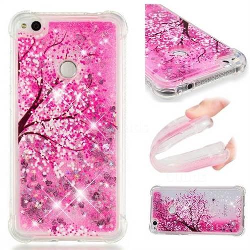 Pink Cherry Blossom Dynamic Liquid Glitter Sand Quicksand Star TPU Case for Huawei P8 Lite 2017 / P9 Honor 8 Nova Lite