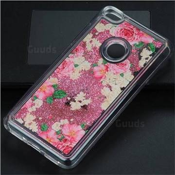 Rose Flower Glassy Glitter Quicksand Dynamic Liquid Soft Phone Case for Huawei P8 Lite 2017 / P9 Honor 8 Nova Lite