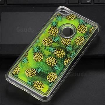 Pineapple Glassy Glitter Quicksand Dynamic Liquid Soft Phone Case for Huawei P8 Lite 2017 / P9 Honor 8 Nova Lite