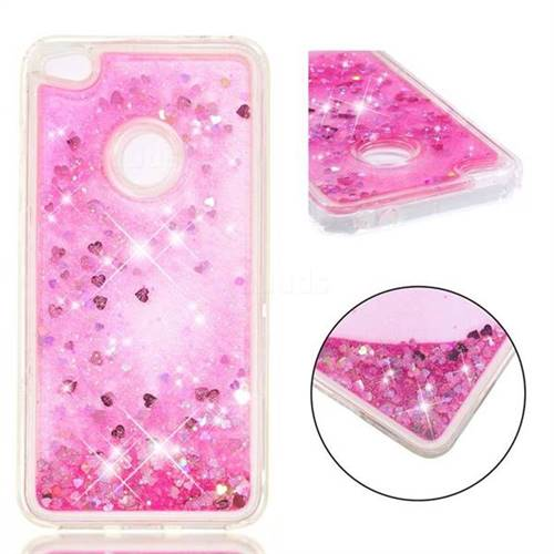 Dynamic Liquid Glitter Quicksand Sequins TPU Phone Case for Huawei P8 Lite 2017 / P9 Honor 8 Nova Lite - Rose