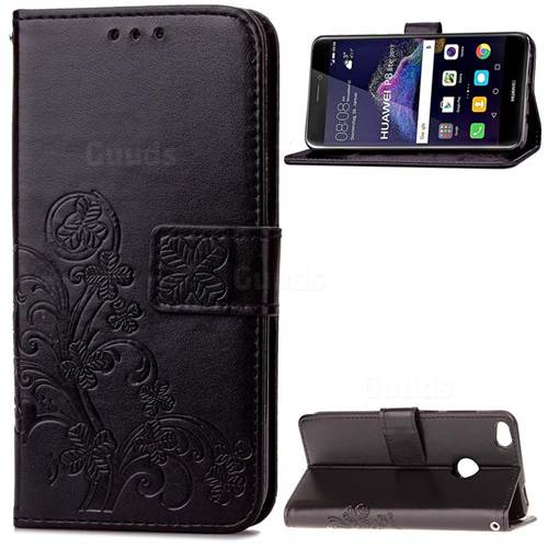 Embossing Imprint Four-Leaf Clover Leather Wallet Case for Huawei P8 Lite 2017 / Honor 8 Lite / Nova Lite / P9 Lite 2017 - Black