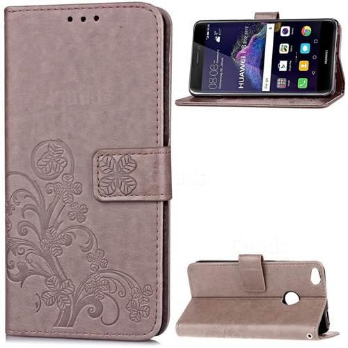 Embossing Imprint Four-Leaf Clover Leather Wallet Case for Huawei P8 Lite 2017 / Honor 8 Lite / Nova Lite / P9 Lite 2017 - Grey