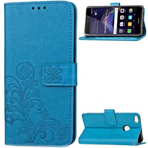 Embossing Imprint Four-Leaf Clover Leather Wallet Case for Huawei P8 Lite 2017 / Honor 8 Lite / Nova Lite / P9 Lite 2017 - Blue