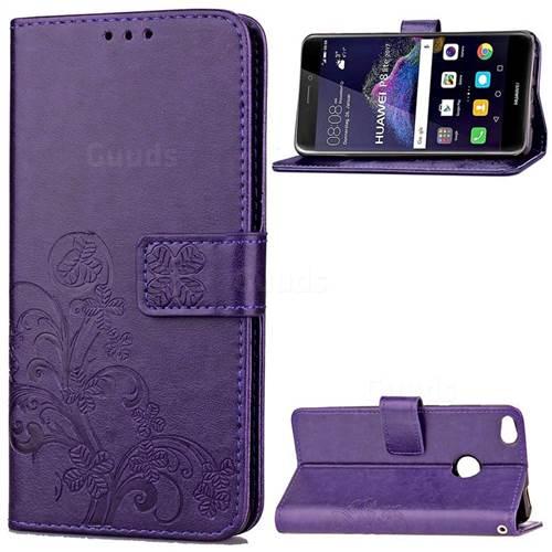 Embossing Imprint Four-Leaf Clover Leather Wallet Case for Huawei P8 Lite 2017 / Honor 8 Lite / Nova Lite / P9 Lite 2017 - Purple