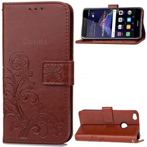 Embossing Imprint Four-Leaf Clover Leather Wallet Case for Huawei P8 Lite 2017 / Honor 8 Lite / Nova Lite / P9 Lite 2017 - Brown