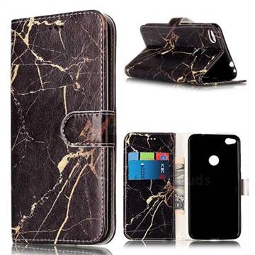 Black Gold Marble PU Leather Wallet Case for Huawei P8 Lite 2017 / Honor 8 Lite / Nova Lite / P9 Lite 2017